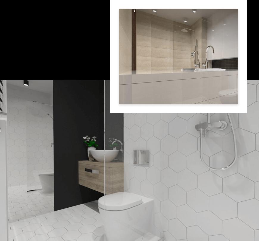 Przykładowe projekty łazienek wykonanych przez studio novoART projektowania i aranżacji wnętrz w Gorzowie