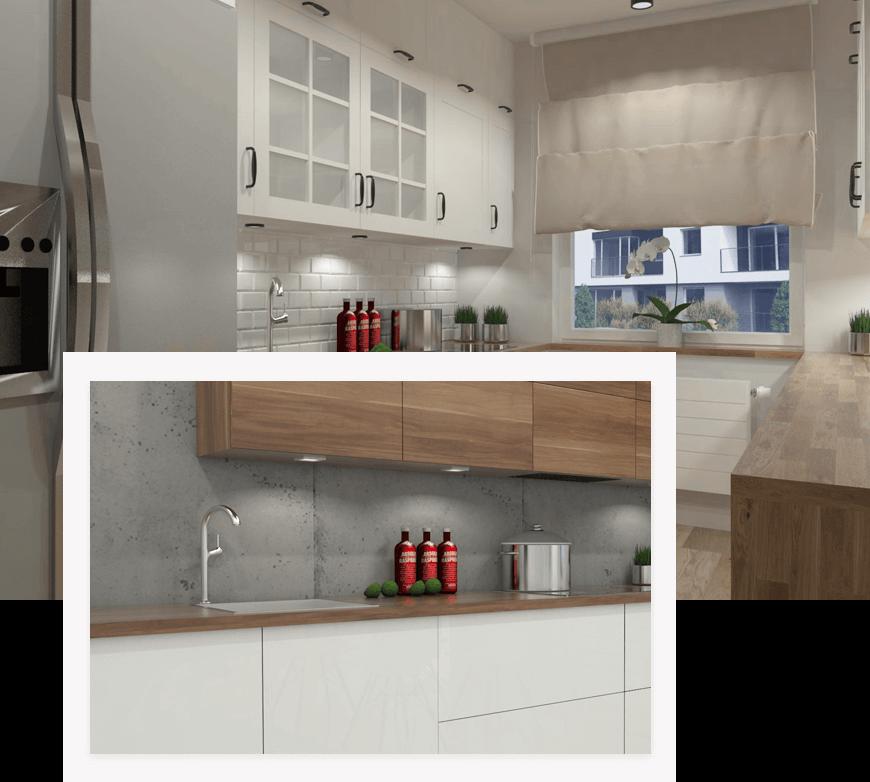 Przykładowe zdjęcia kuchni na wymiar wykonanych przez studio novoART projektowania i aranżacji wnętrz w Gorzowie