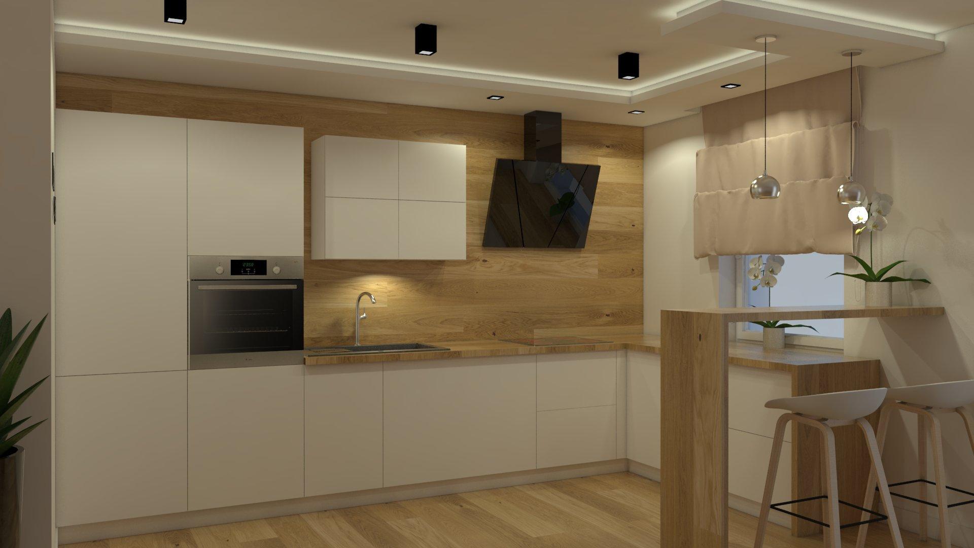 Projekt kuchni wykonany przez studio novoART zajmującego się projektowaniem i montażem kuchni na wymiar