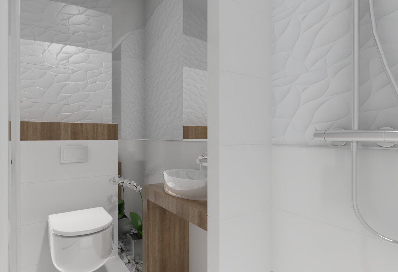 Projekt łazienki pod Gorzowem od studia novoART zajmującego się projektowaniem i aranżacją wnętrz