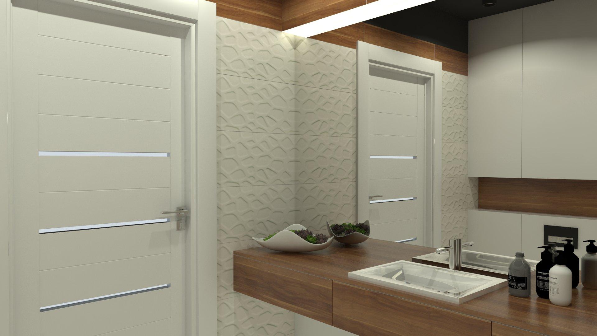 Pretekst nowoczesnej łazienki z czarnym sufitem od studia novoaRT zajmującego się projektowaniem i aranżacją wnętrz