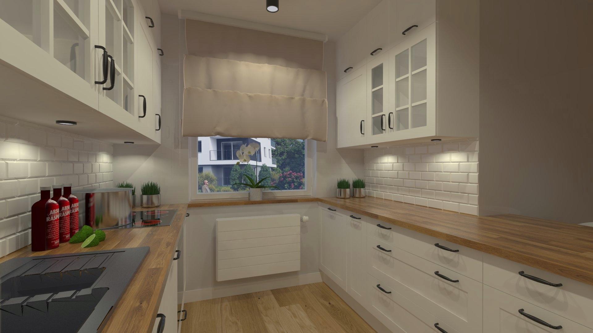 Projekt białej kuchni w skandynawskim stylu wykonanym przez studio novoART zajmującego się projektowaniem i aranżacją ,kuchni na wymiar