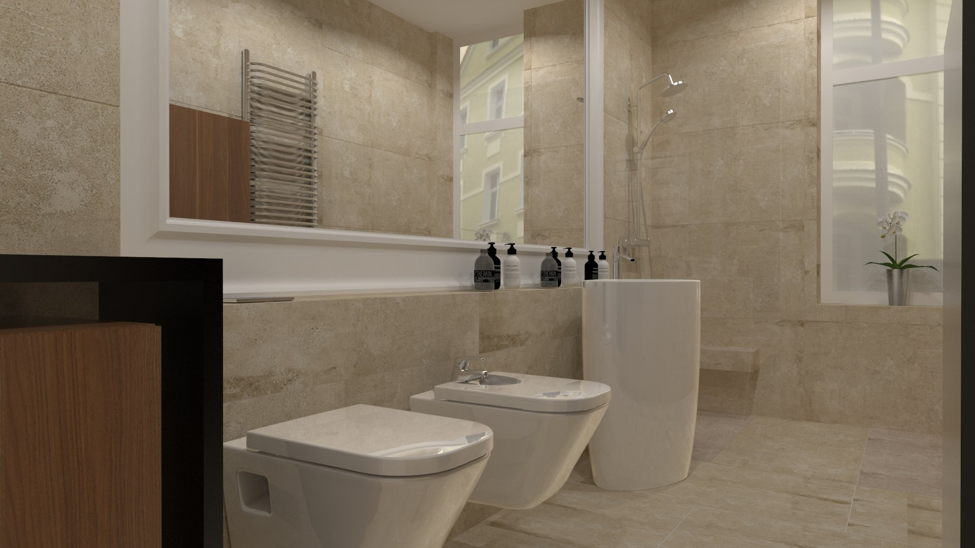 Projekt wąskiej łazienki w Gorzowskiej kamienicy wykonany przez studio novoART zajmującego się projektowaniem i aranżacją wnętrz