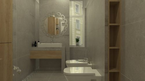 Projekt długiej i wąskiej łazienki z wydzielonym prysznicem
