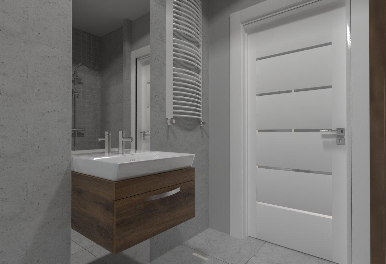 Projekt łazienki pod Gorzowem wykonanego przez studio novoART zajmującego się projektowaniem i aranżacją wnętrz