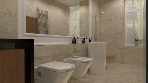 Projekt wąskiej łazienki z dużym lustrem