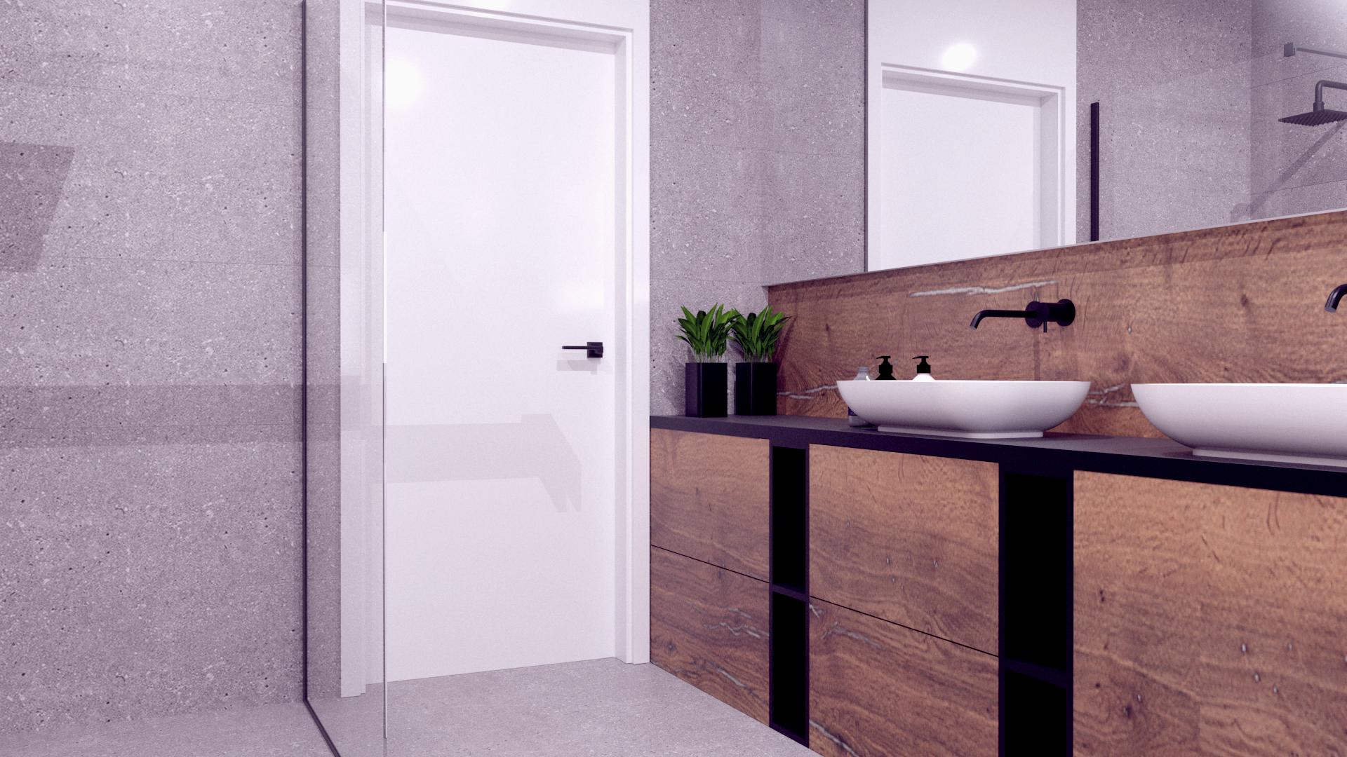łazienka szarość $ drewno