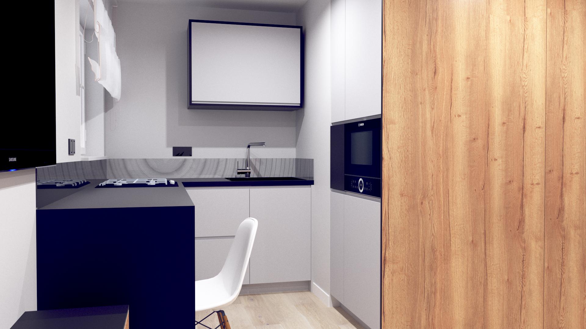 kuchnia w minimalistycznej łazience